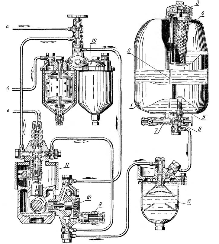 Схема системы питании трактора